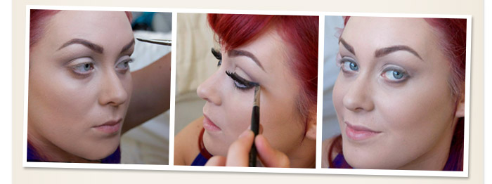 Using a black shade to create flicks on eye lid